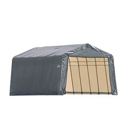 ShelterLogic 12 ft. x 28 ft. x 8 ft. Peak Style Shelter with Grey Cover