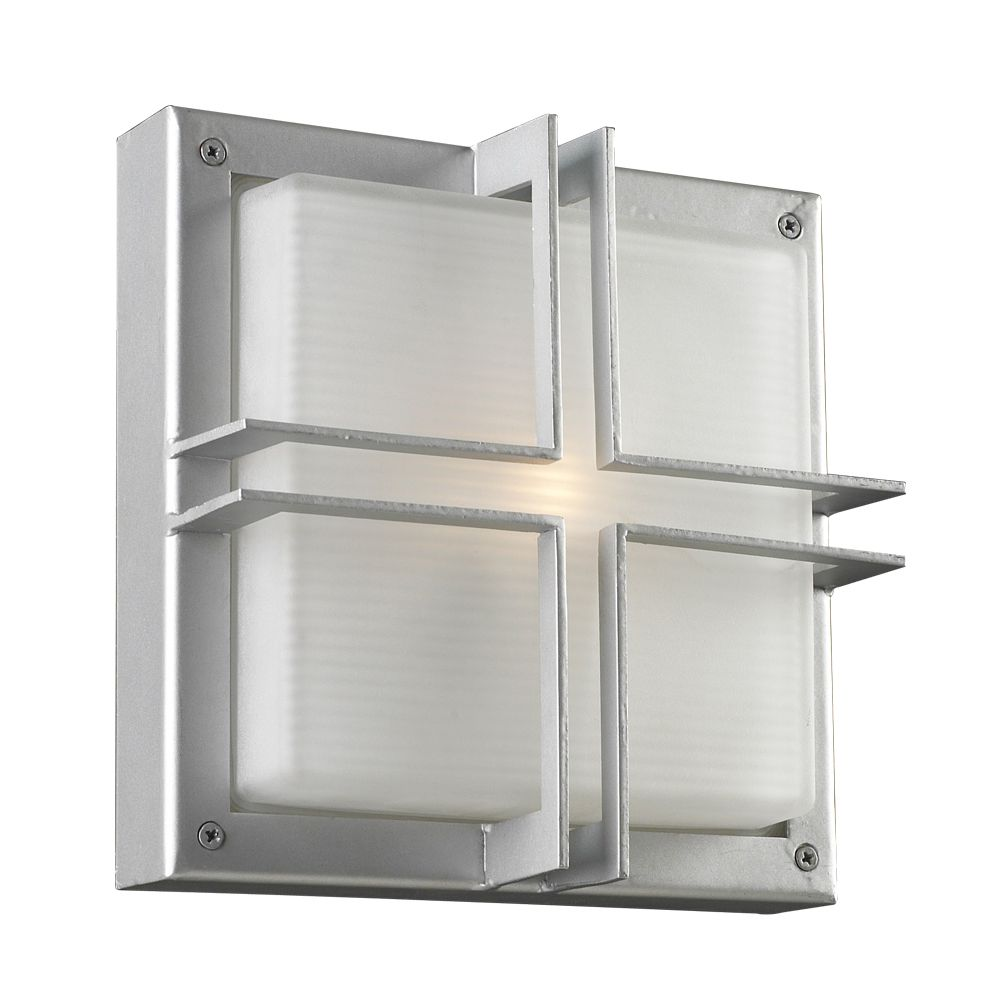 Contemporary Beauty 1 Light Outdoor Wall Sconce with Frost Glass and Slate Finish