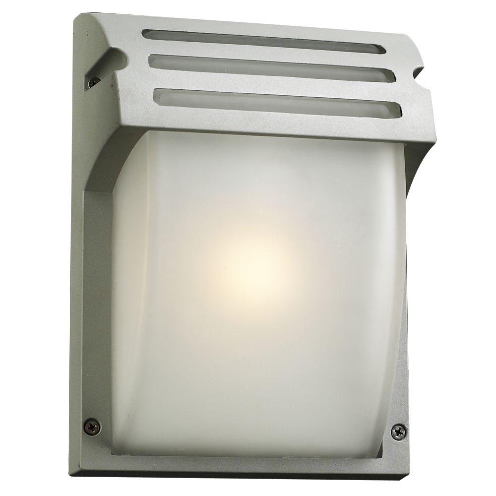Lumière fixée au mur à une ampoule avec abat-jour givré, Fini argent