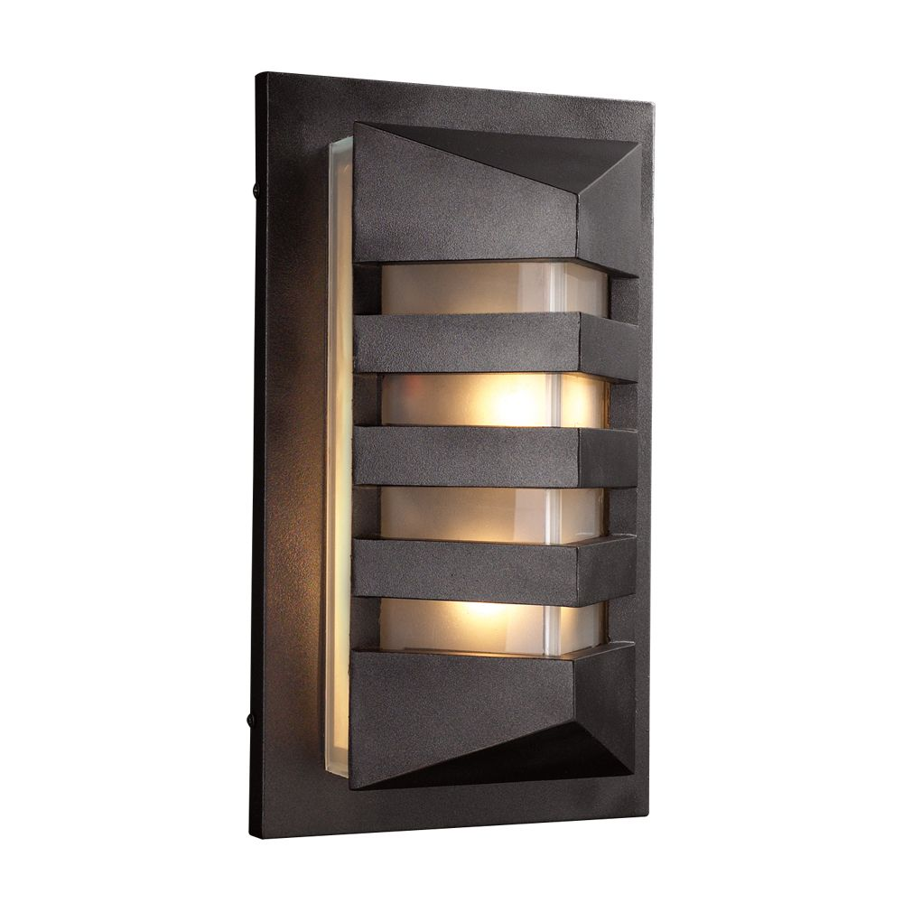 Contemporary Beauty 1 Light Outdoor Wall Sconce with Frost Glass and Bronze Finish
