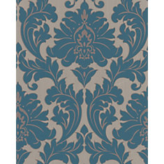 Majestic 8-inch x 5 3/4-inch Teal Wallpaper Sample