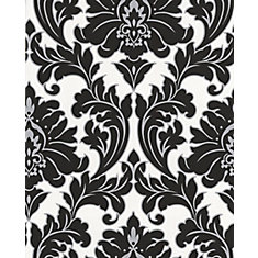 Majestic 8-inch x 5 3/4-inch Black and White Wallpaper Sample