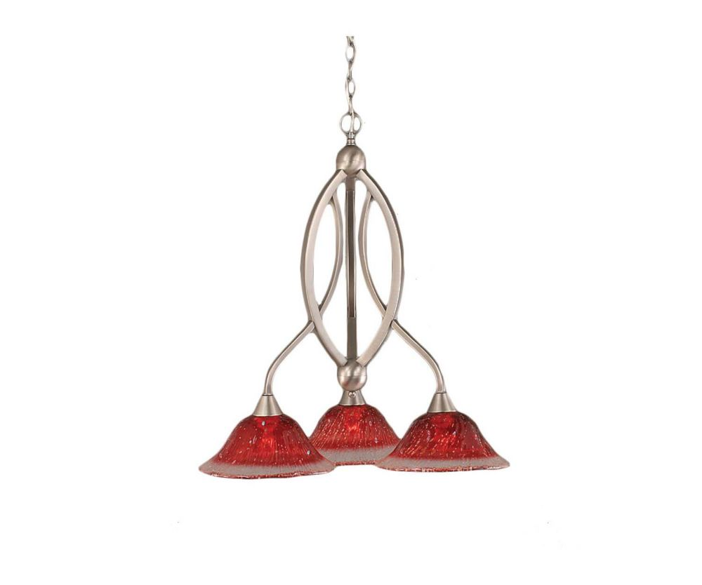Concord 3-Light Ceiling Brushed Nickel Chandelier with a Raspberry Crystal Glass