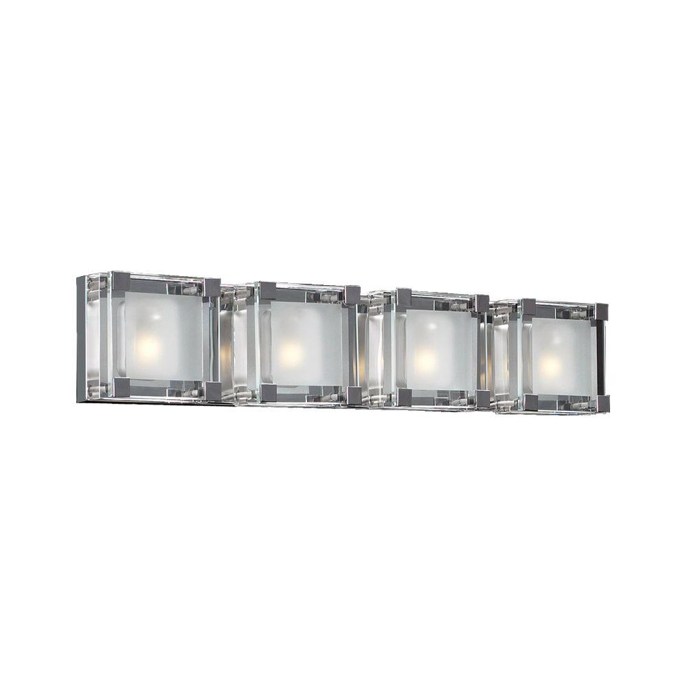 Lumière Contemporary Beauty fixée au mur à quatre ampoules avec abat-jour clair, finition de spéc...