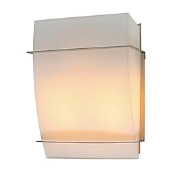 Contemporary Beauty 2 Light Sconce with Matte Opal Glass and Satin Nickel Finish