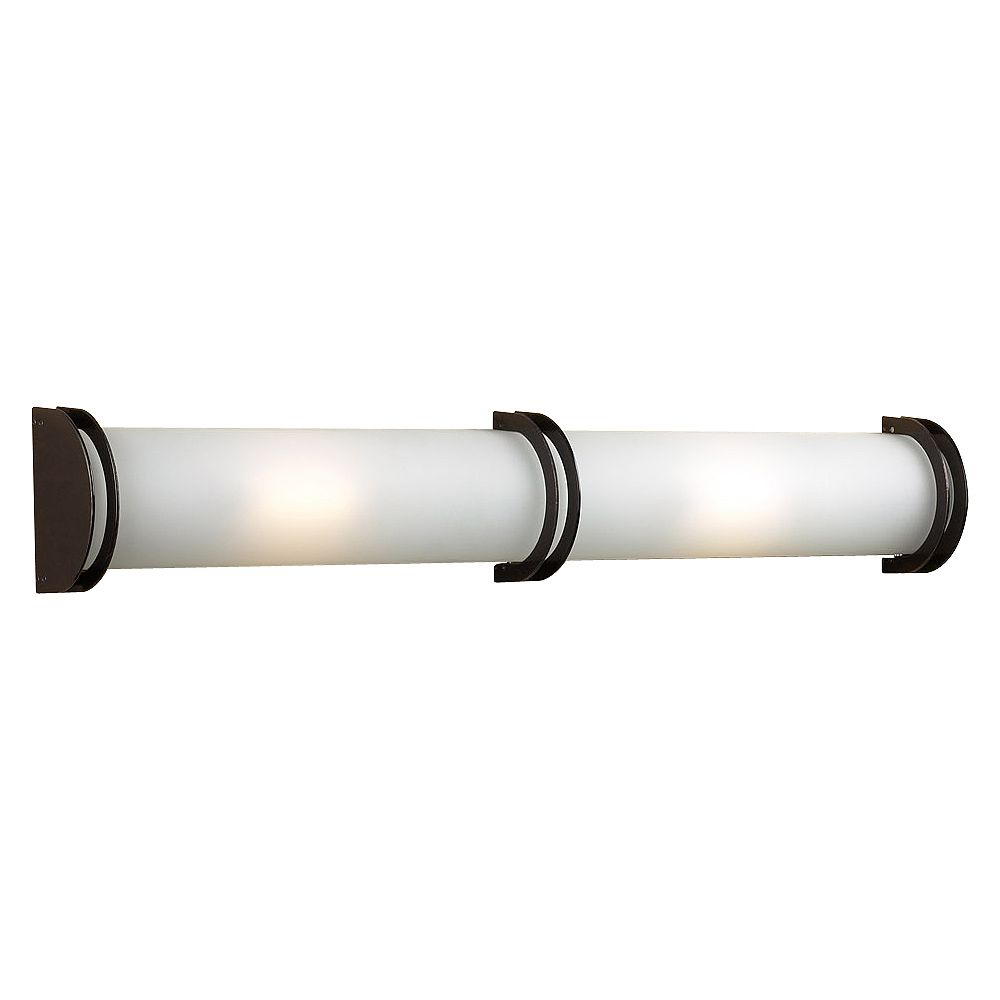 Contemporary Beauty 2 Light Bath Light with Acid Frost Glass and Satin Nickel Finish