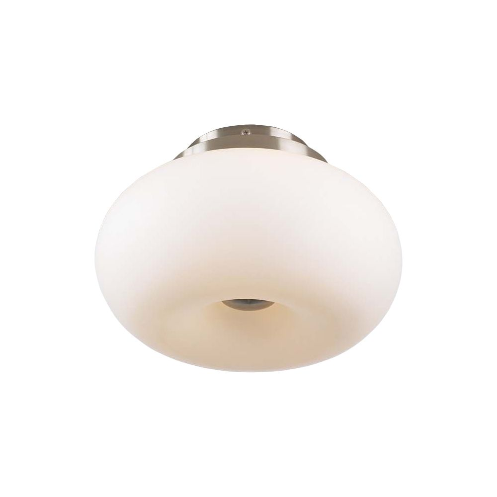 3 Light Flush Mount with Matte Opal Glass and Satin Nickel Finish