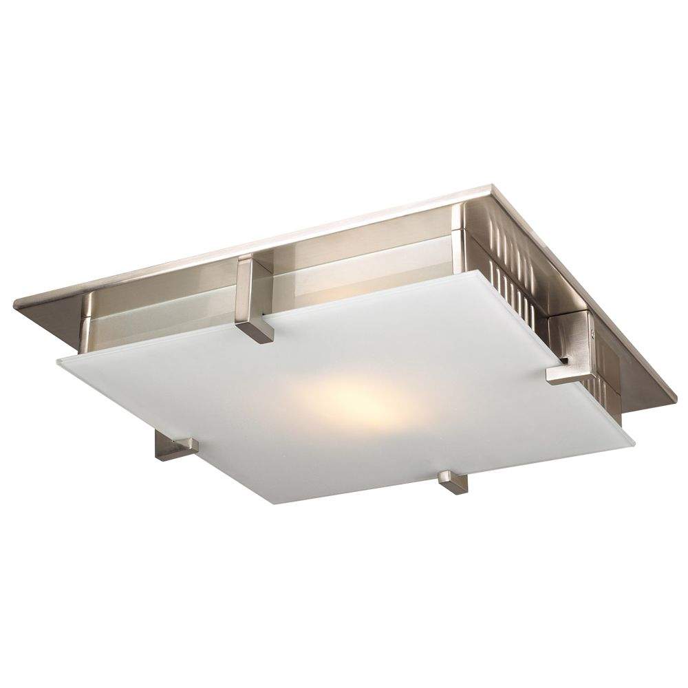 Contemporary Beauty 1 Light Flush Mount with Acid Frost Glass and Satin Nickel Finish CLI-HD1269584 Canada Discount