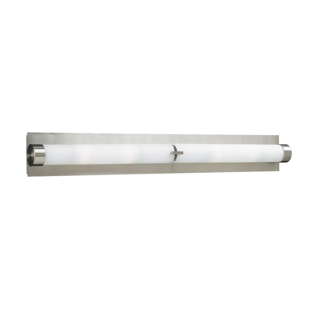 Contemporary Beauty 4 Light Bath Light with Matte Opal Glass and Satin Nickel Finish