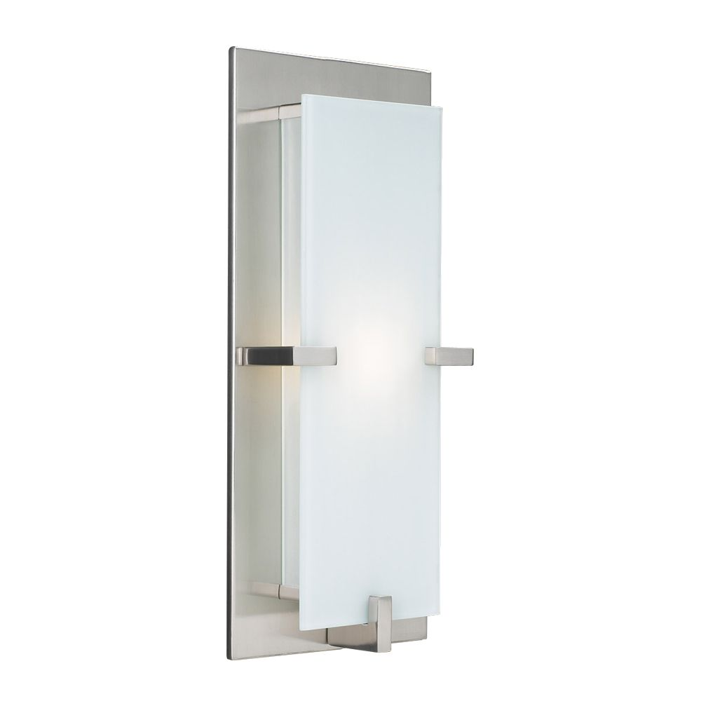 1 Light Sconce with Acid Frost Glass and Satin Nickel Finish
