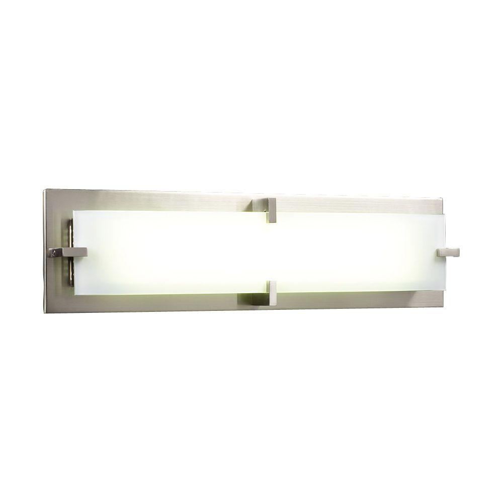 Lumière fixée au mur à deux ampoules avec abat-jour givré, finition de spécialité