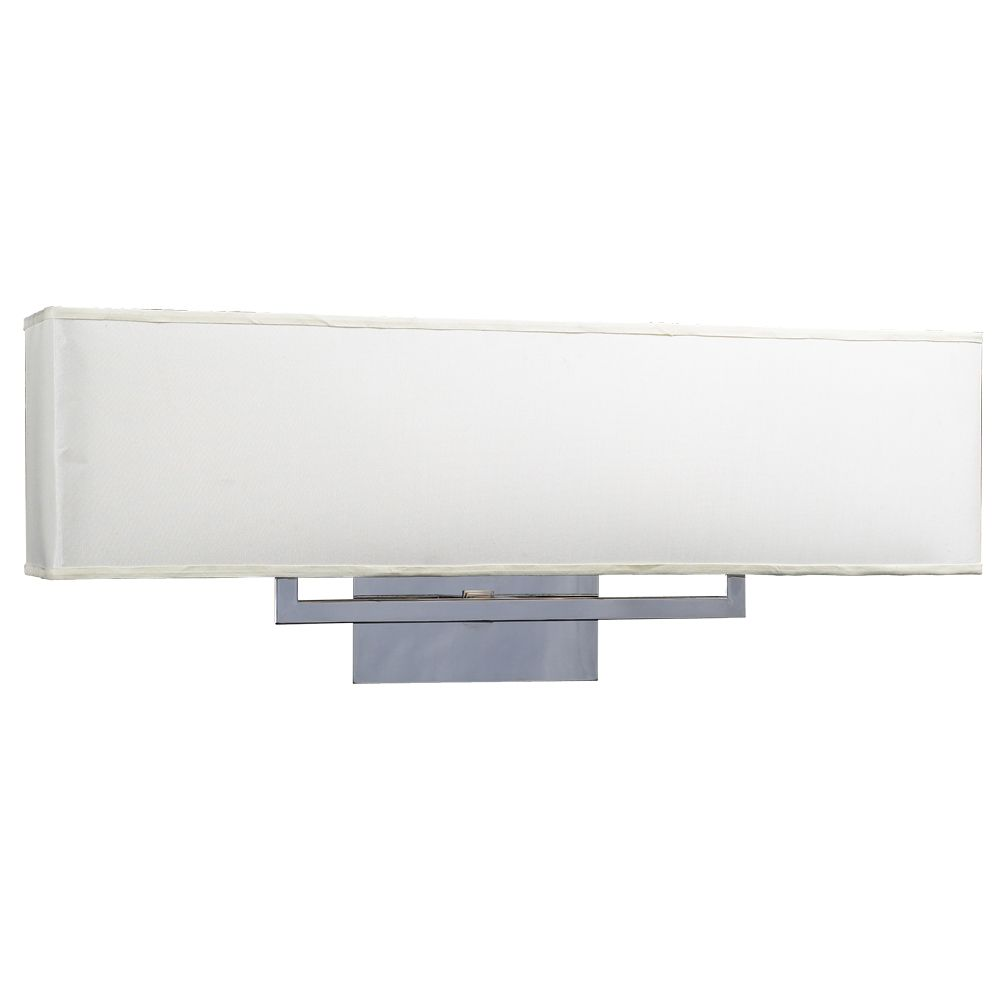 2 Light Bath Light with Off-white Fabric shade Glass and Polished Chorme Finish