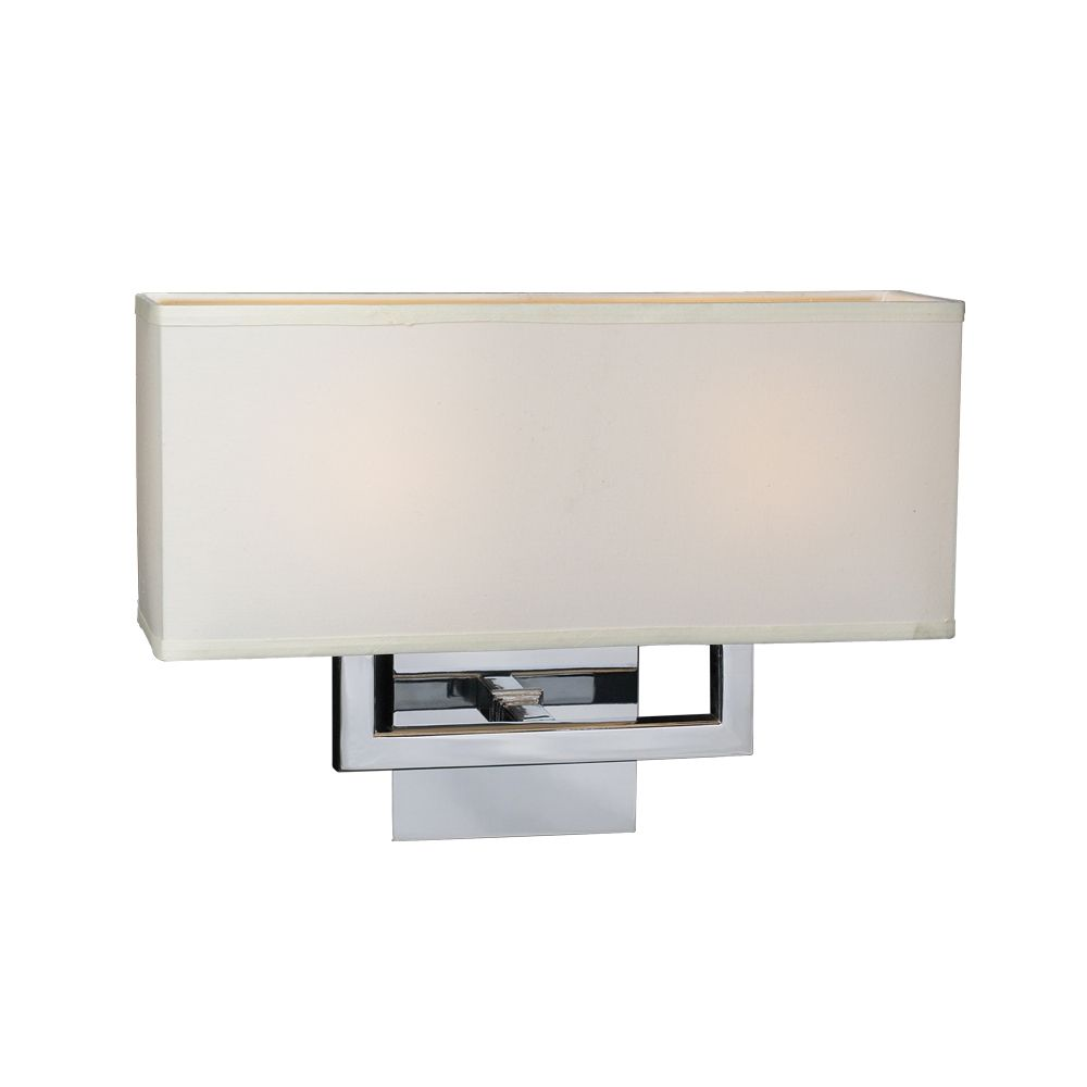 2 Light Sconce with Off-white Fabric shade Glass and Polished Chorme Finish