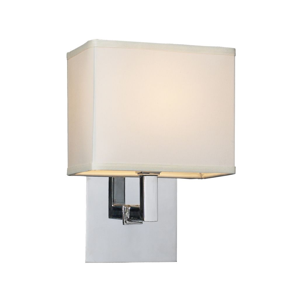 Contemporary Beauty 1 Light Sconce with Off-white Fabric shade Glass and Polished Chorme Finish
