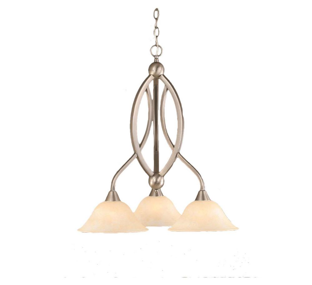 Filament Design Concord 3-Light Ceiling Brushed Nickel Chandelier with an Amber Glass
