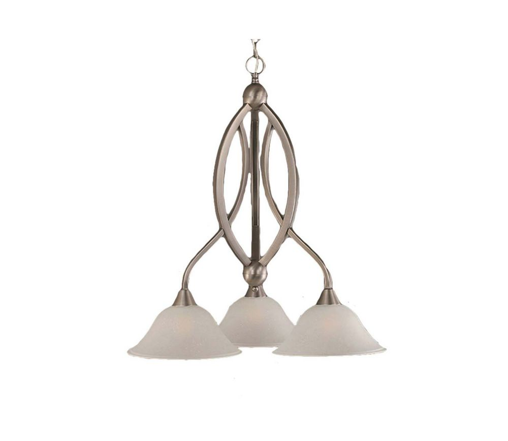 Concord 3 Light Ceiling Brushed Nickel Incandescent Chandelier with a Dew Drop Glass
