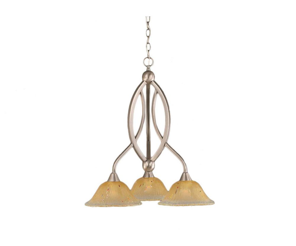 Concord 3 Light Ceiling Brushed Nickel Incandescent Chandelier with an Amber Glass