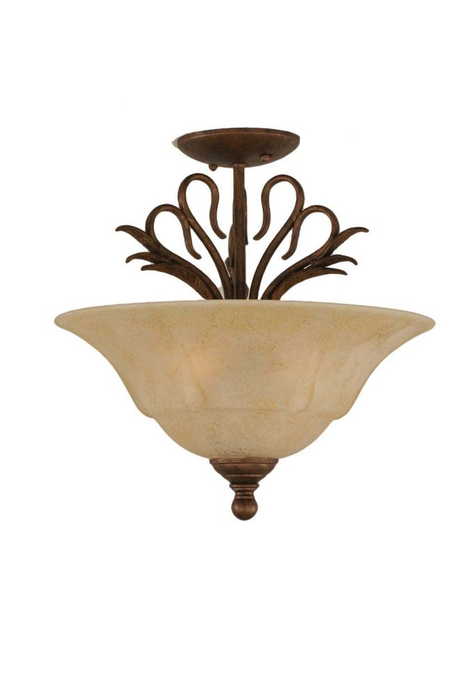 Concord 3 Light Ceiling Bronze Incandescent Semi Flush with an Italian Marble Glass