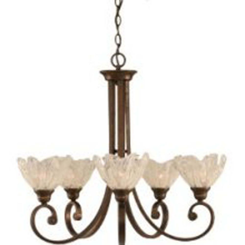 Concord 5 Light Ceiling Bronze Incandescent Chandelier with a Clear Crystal Glass
