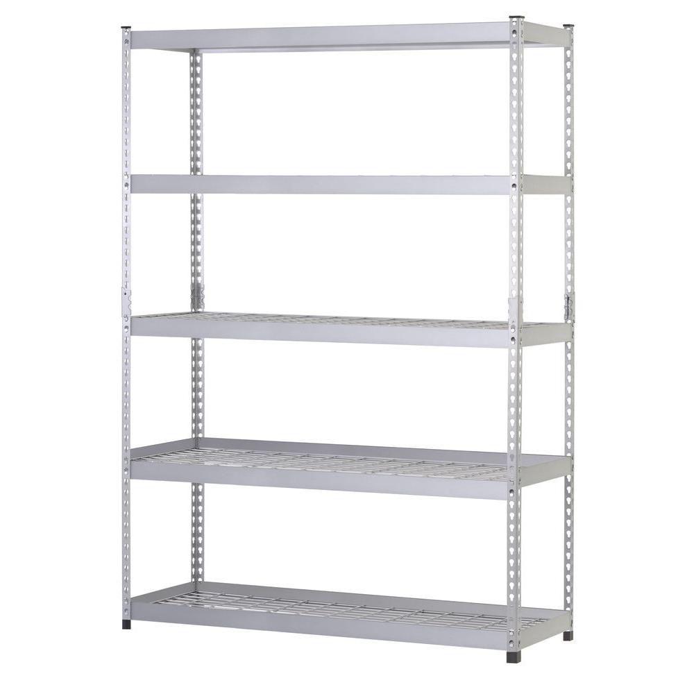 5-Shelf 48 Inch. W x 78 Inch. H x 24 Inch. D Silver Steel Storage Shelving Unit