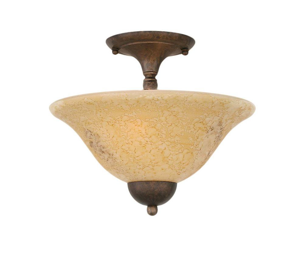Concord 2 Light Ceiling Bronze Incandescent Semi Flush with an Italian Marble Glass