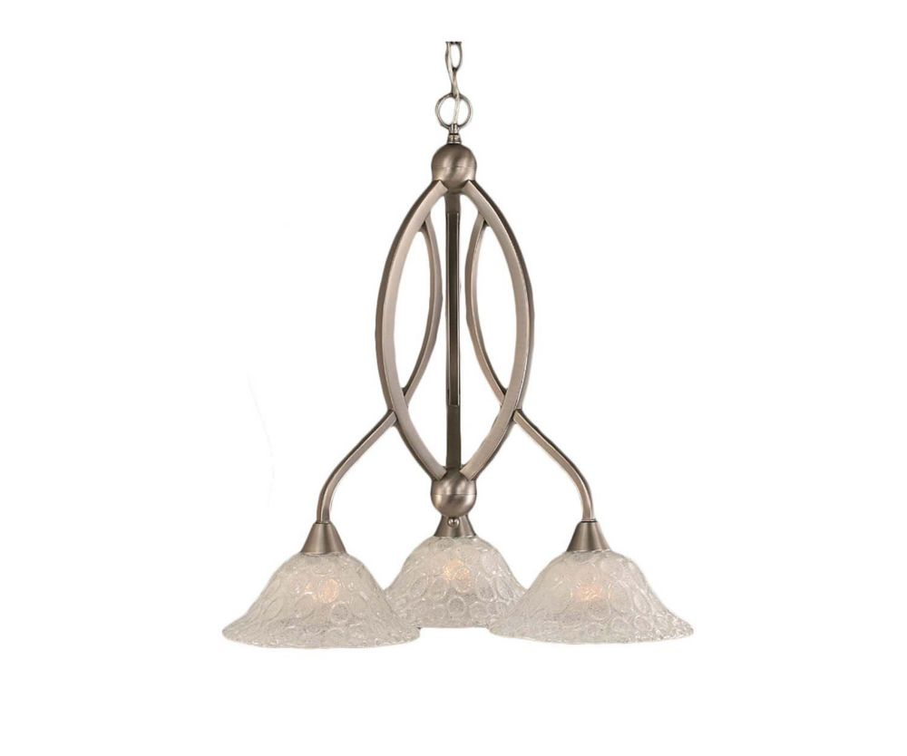 Concord 3 Light Ceiling Brushed Nickel Incandescent Chandelier with a Clear Crystal Glass