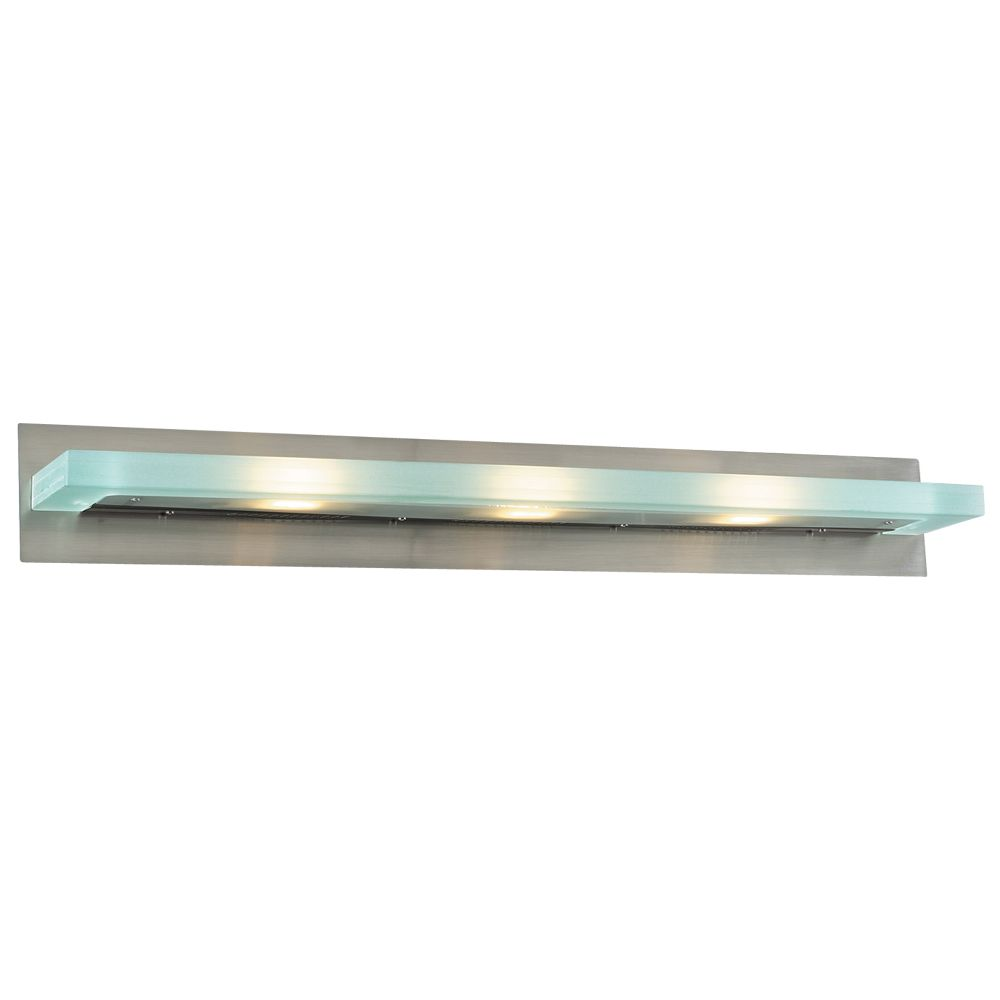 Contemporary Beauty 3 Light Bath Light With Acid Frost Glass And Satin Nickel