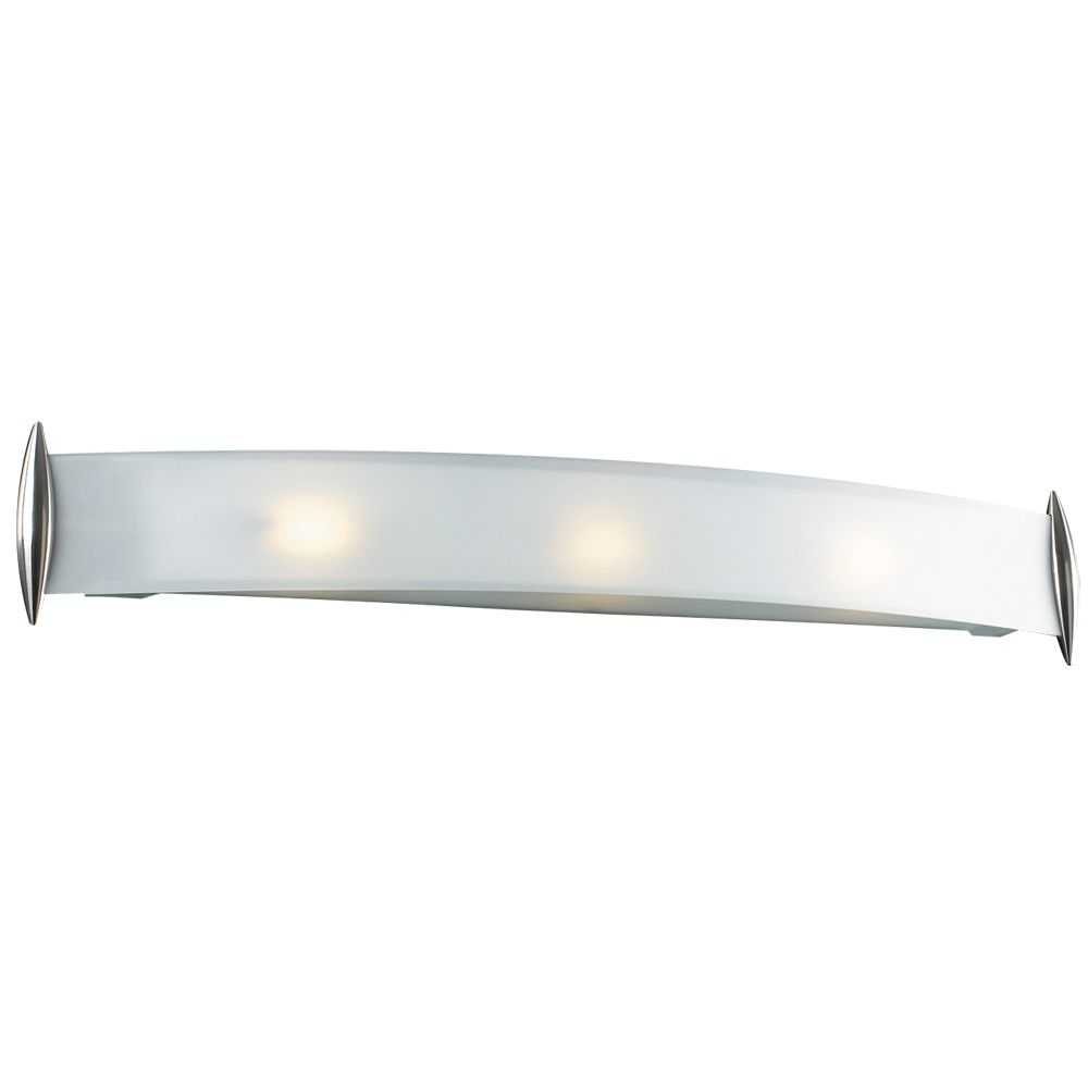 3 Light Bath Light with Acid Frost Glass and Satin Nickel Finish