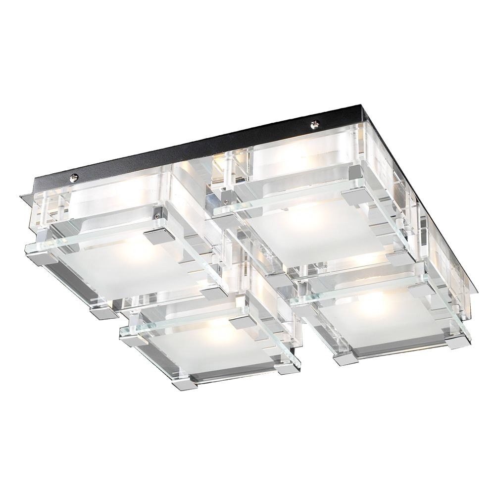 Contemporary Beauty 4 Light Flush Mount with Clear Glass and Polished Chorme Finish