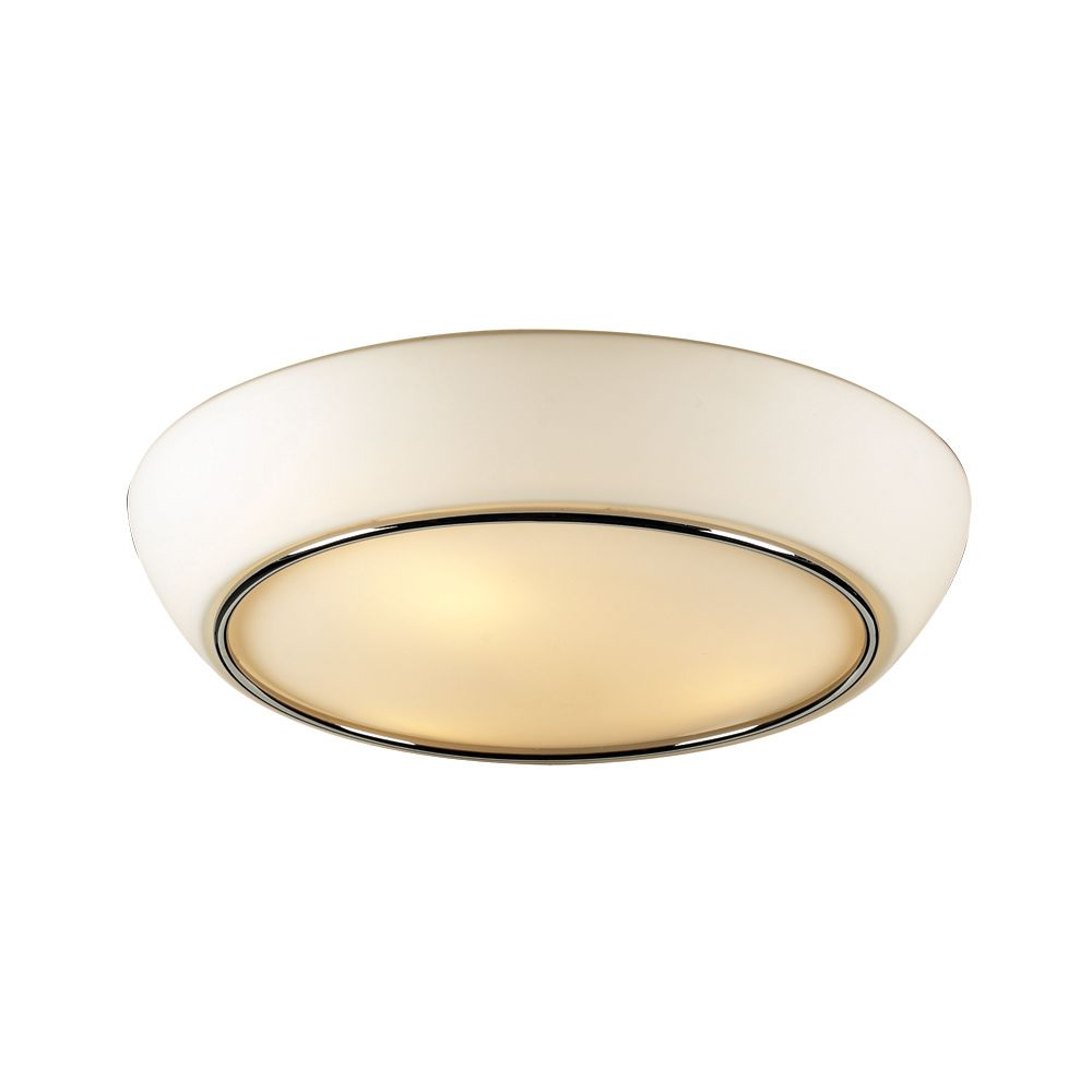 Contemporary Beauty 2 Light Flush Mount with Matte Opal Glass and Polished Chorme Finish