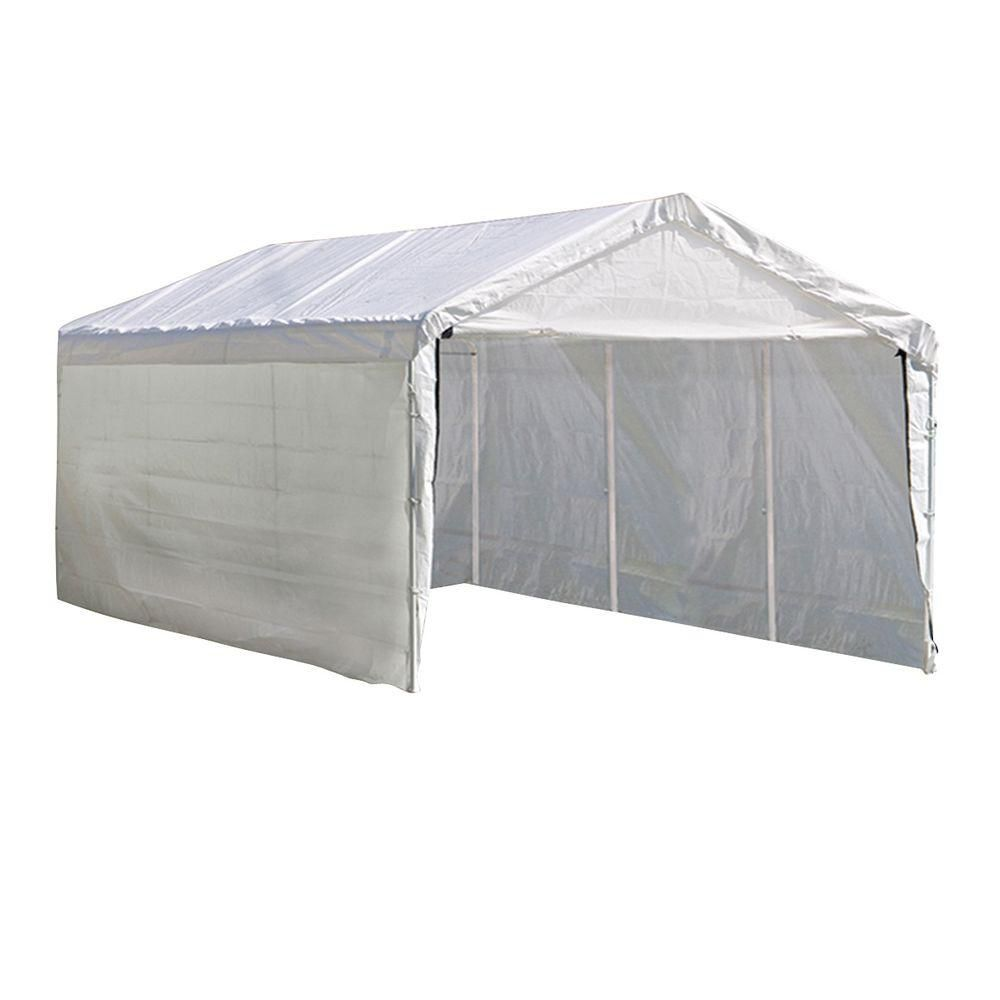 Super Max 10 x 20 2 in 1 Canopy Pack, 2 in. 4-Rib Frame White Cover with Enclosure Kit