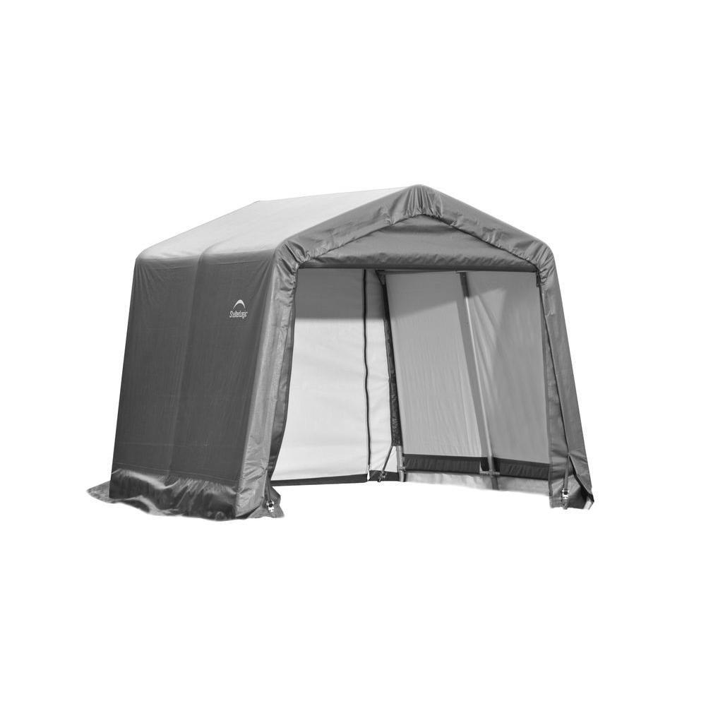 ShelterLogic 10 ft. x 8 ft. x 8 ft. Peak Style Shed Storage Shelter in Grey
