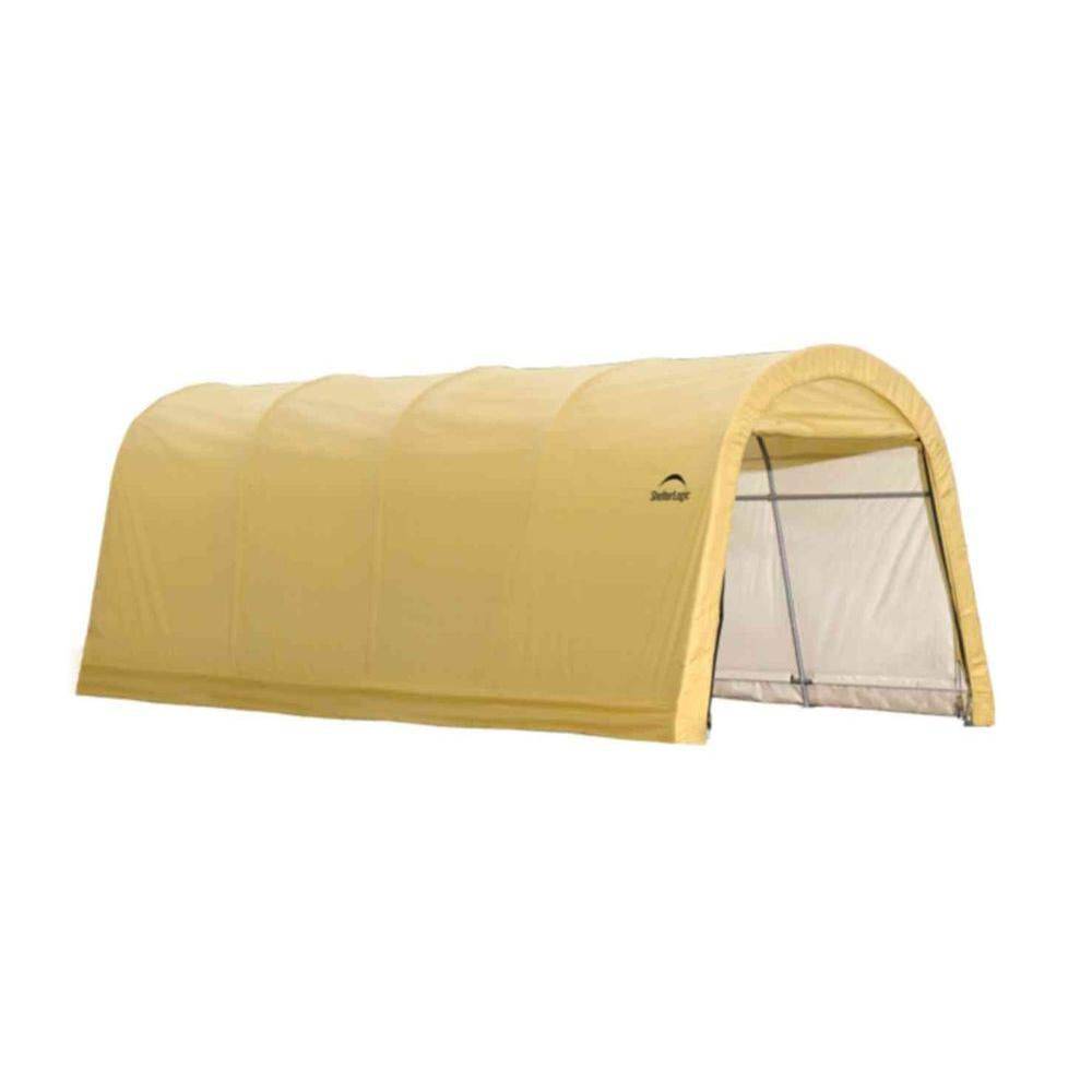 10 x 20 x 8 Feet Auto Shelter, Round Style, Sandstone Cover