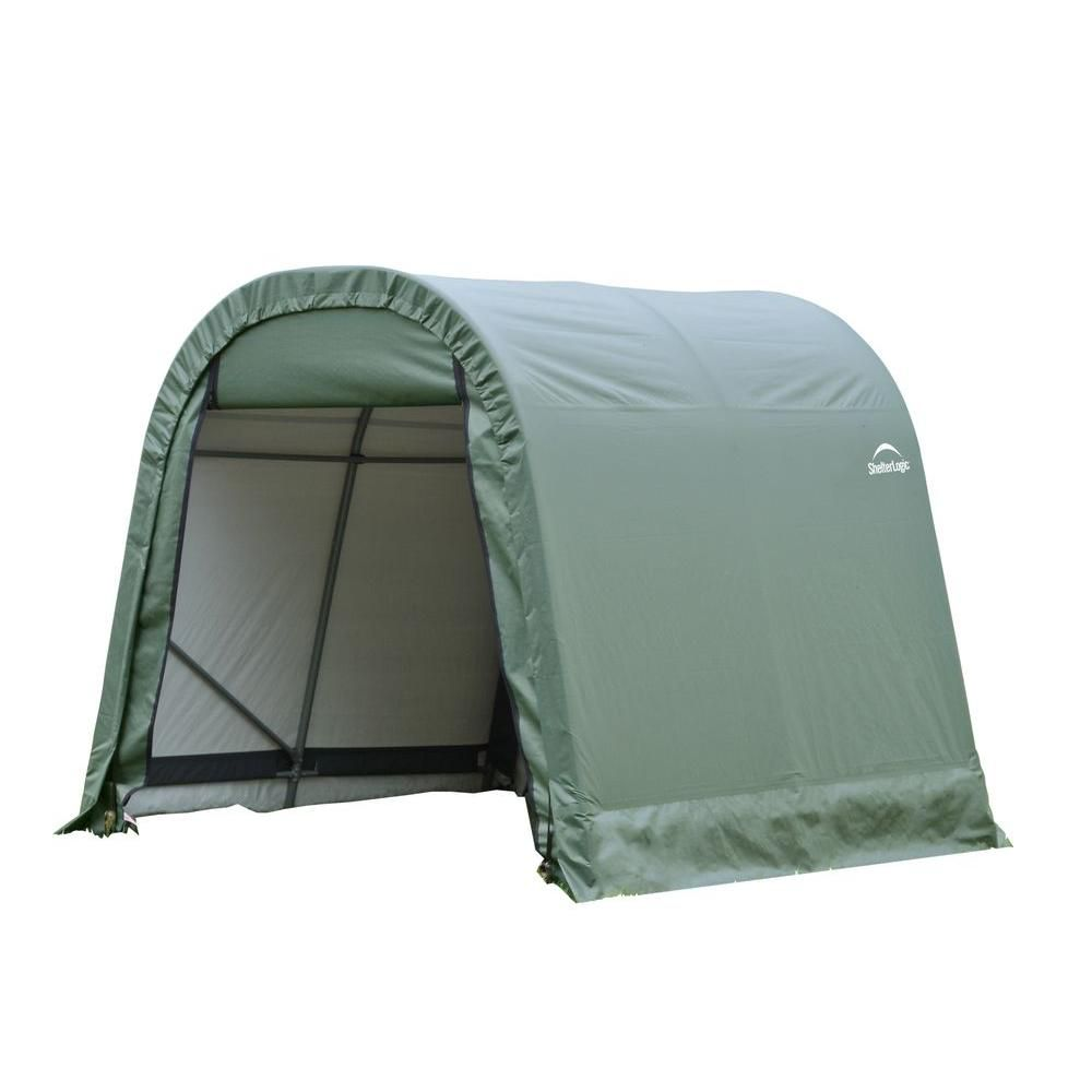 Green Cover Round Style Shelter - 10 Feet x 8 Feet x 8 Feet
