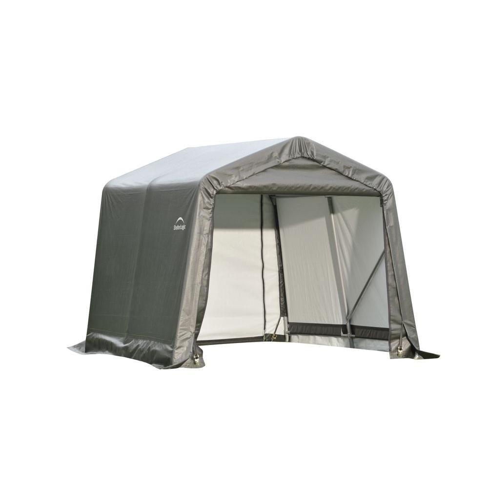 Grey Cover Peak Style Shed/Storage Shelter - 8 Feet x 16 Feet x 8 Feet 71823 Canada Discount