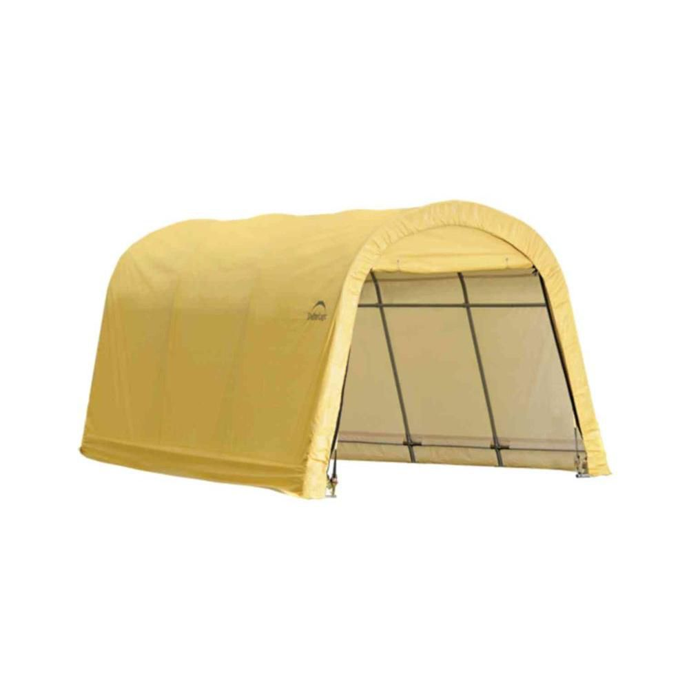 10 x 15 x 8 Feet Auto Shelter, Round Style, Sandstone Cover