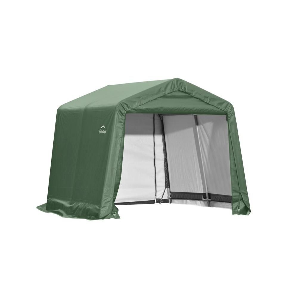 ShelterLogic 10 ft. x 8 ft. x 8 ft. Peak Style Shed Storage Shelter in Green