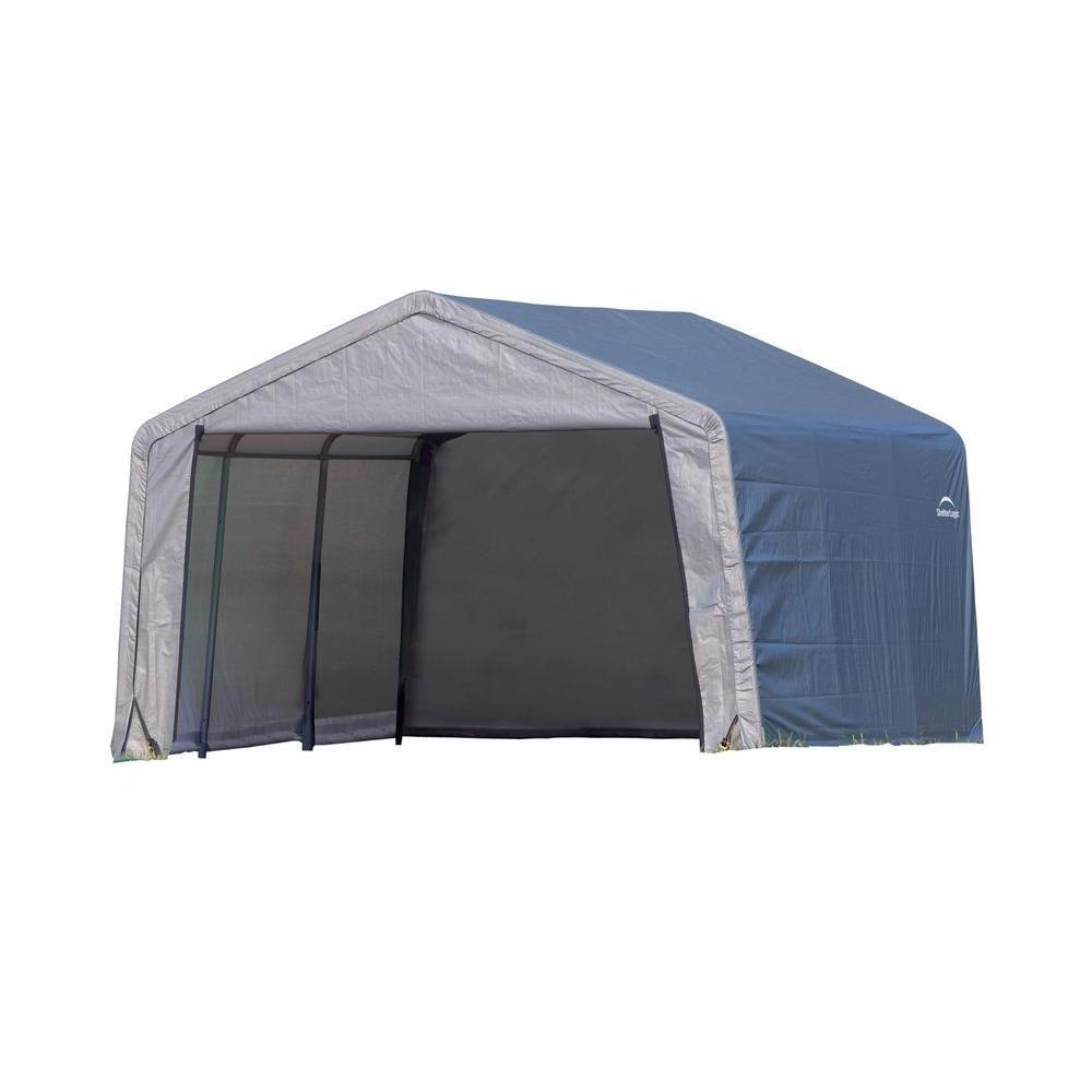 Shed-in-a-Box 12 Feet x 12 Feet x 8 Feet  Peak Style Storage Shed - Grey