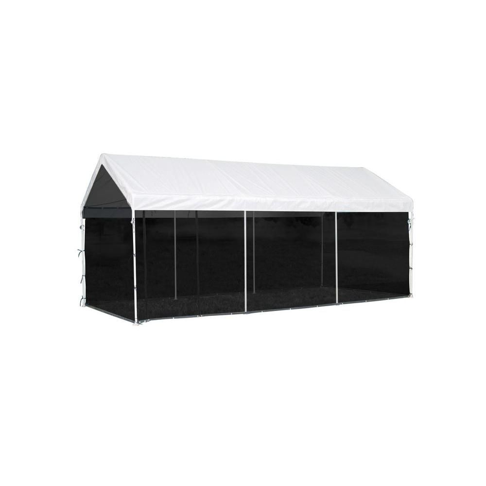 Max AP 2-in-1 Canopy Pack 10 x 20 1-3/8 in. 4-Rib Frame White Cover with Screenhouse Enclosure Ki...