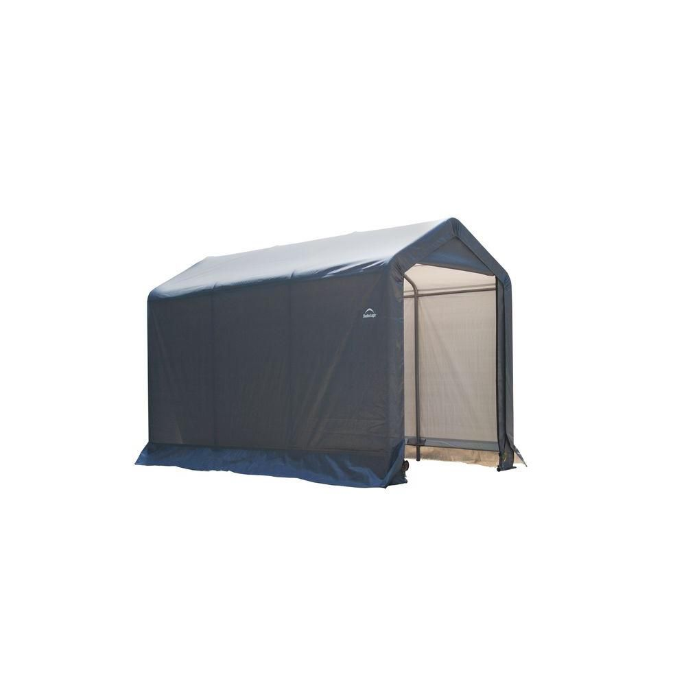 ShelterLogic Shed-in-a-Box 6 ft. x 10 ft. x 6 ft. Peak Style Storage Shed in Grey