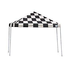 ShelterLogic 12 ft. x 12 ft. Straight Leg Pop-Up Canopy, Checkered Flag Cover, Black Roller Bag