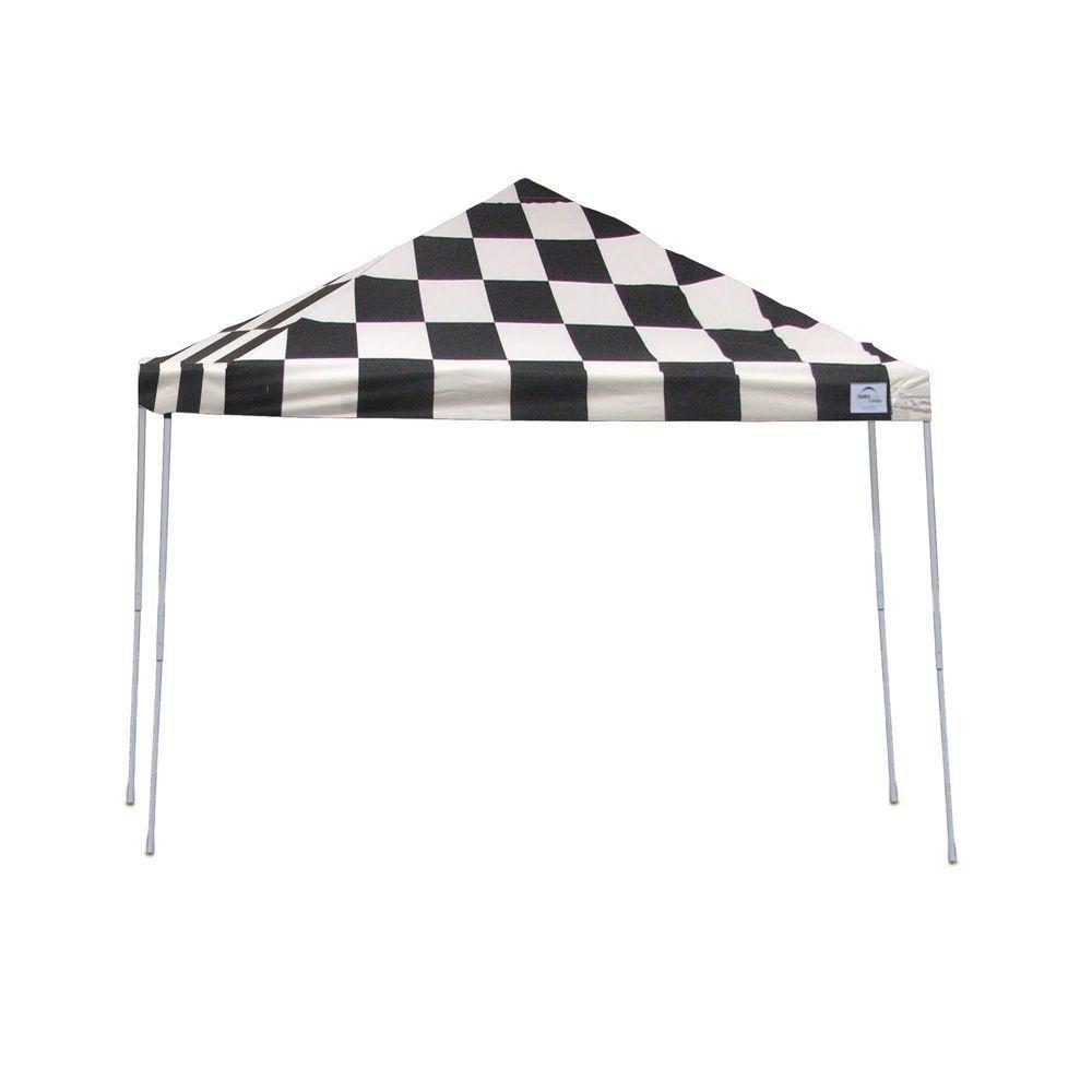 12x12 Straight Leg Pop-Up Canopy, Checkered Flag Cover, Black Roller Bag