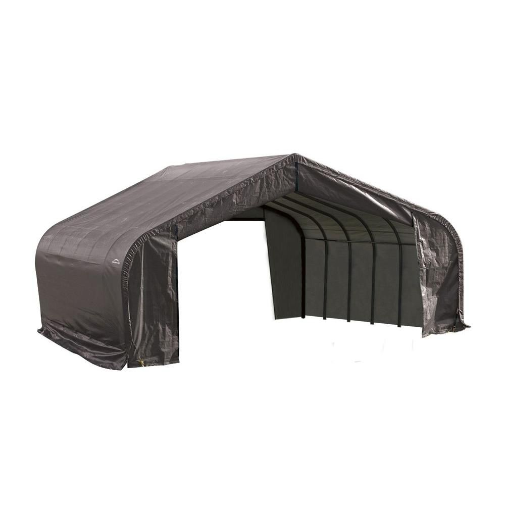 Grey Cover Peak Style Shelter - 22 x 24 x 13 Feet