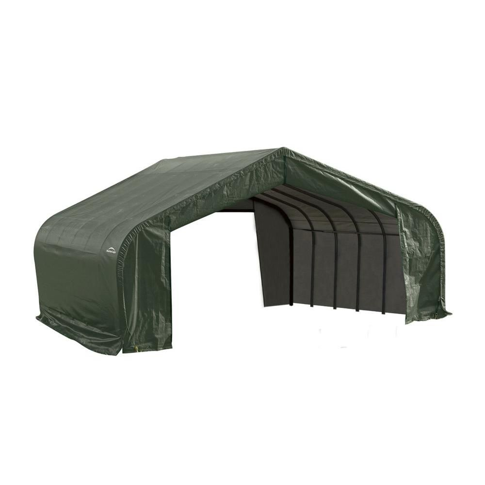 22 ft. x 24 ft. x 13 ft. Peak Style Shelter with Green Cover