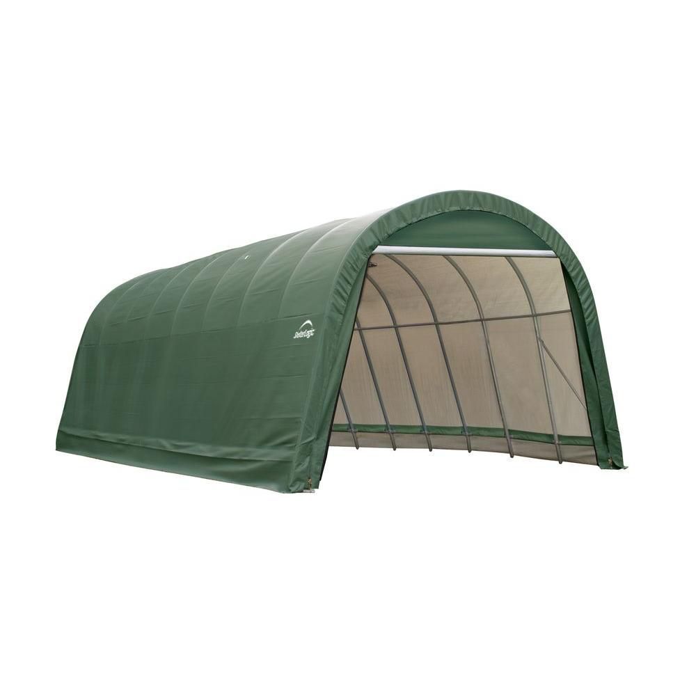 Green Cover Round Style Shelter - 14 Feet x 28 Feet x 12 Feet 95334 Canada Discount