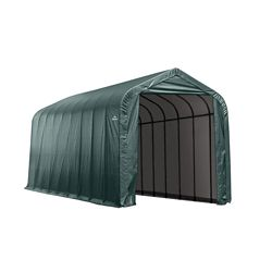 ShelterLogic 15 ft. x 28 ft. x 12 ft. Peak Style Shelter with Green Cover