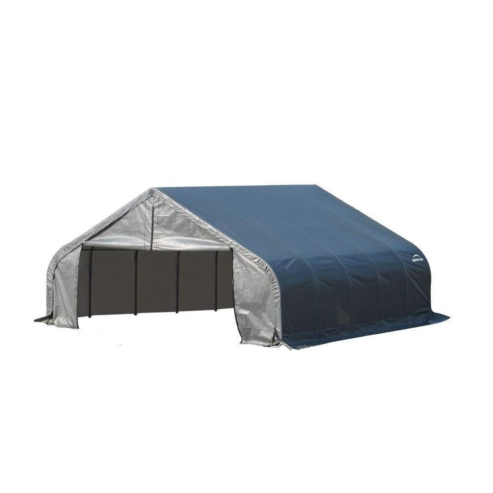 18 ft. x 24 ft. x 12 ft. Peak Style Shelter with Grey Cover