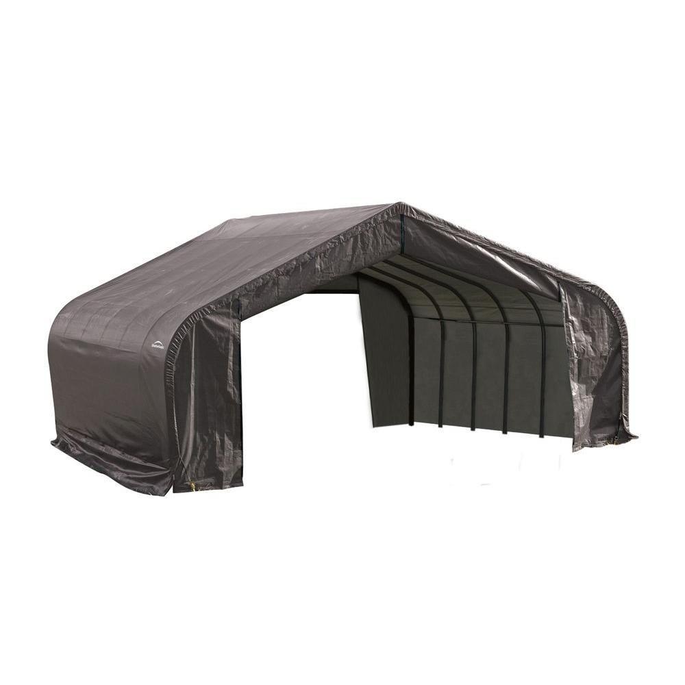 Grey Cover Peak Style Shelter - 22 Feet x 28 Feet x 13 Feet 82243 in Canada