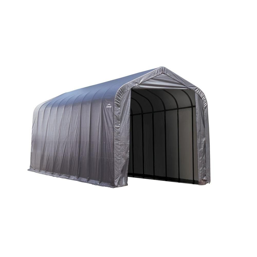 15 ft. x 20 ft. x 12 ft. Peak Style Shelter with Grey Cover