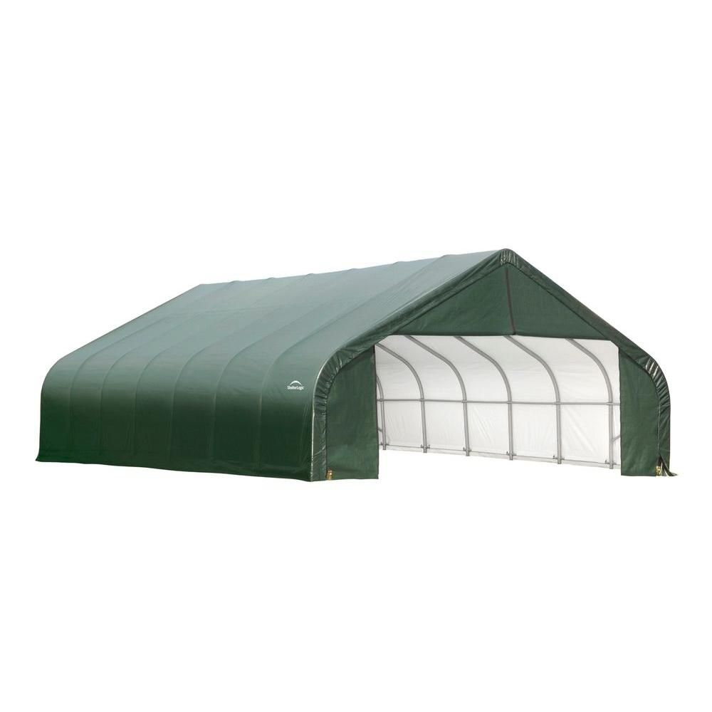 30 ft. x 28 ft. x 20 ft. Peak Style Shelter with Green Cover